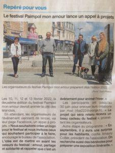 Article de presse du ouest France du 30 avril 2021, appel à projet pour la création du logo du festival Paimpol Mon Amour.