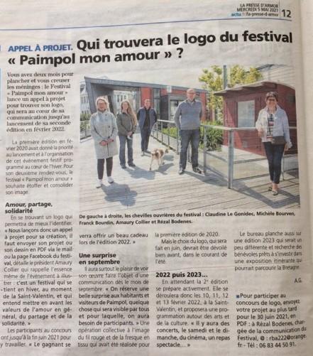 Article de la presse d'Armor du 5 mai 2021 sur le festival qui lance un appel à projet pour son logo