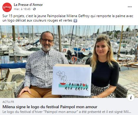 Post de la Presse d'Armor sur FB, présentation du logo de l'association du Festival de Paimpol Mon Amour