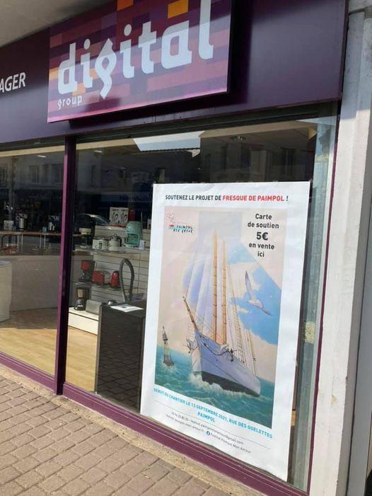 affiche de soutien pour la fresque mise en vitrine sur le magasin Digital de Paimpol