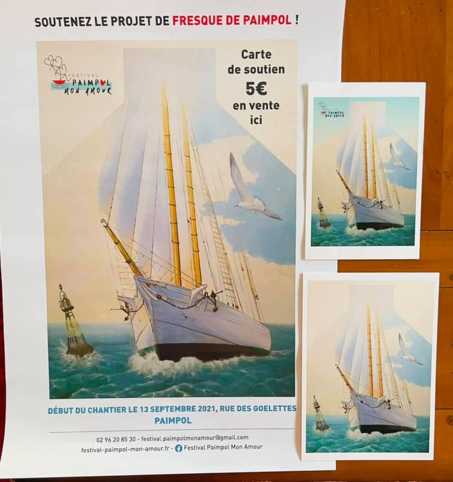 Affiche et cartes postales pour le soutien de la réalisation de la fresque.