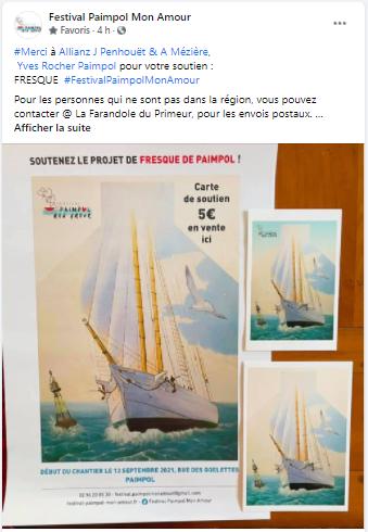 Post FB de ALLIANZ J Penhouët & A Mézière, Yves Rocher Paimpol pour leur soutien