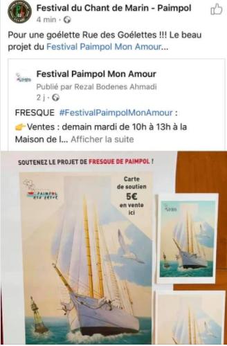 Post FB du Festival du chant de Marin de Paimpol pour le soutien de la fresque