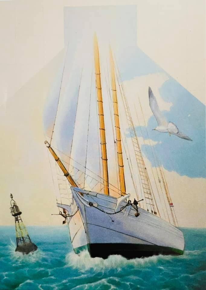 Dessin de la fresque, une goélette sur la mer, qui navigue, une mouette dans le ciel , une balise sur l'eau.