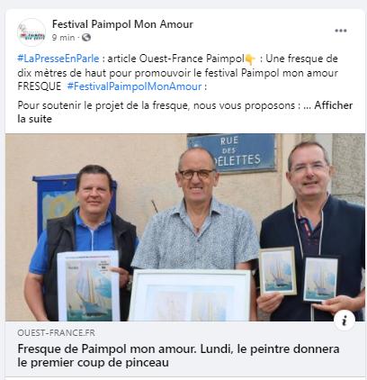 Post FB de l'article Ouest France, le premier coup de pinceau va être donné lundi 13 septembre