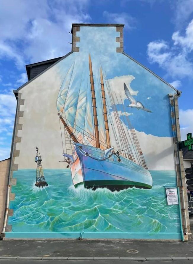 Fresque terminée du Festival Paimpol Mon Amour.